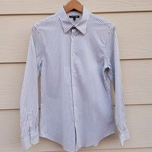 White Stipped Button Down Shirt Express 1MX Med